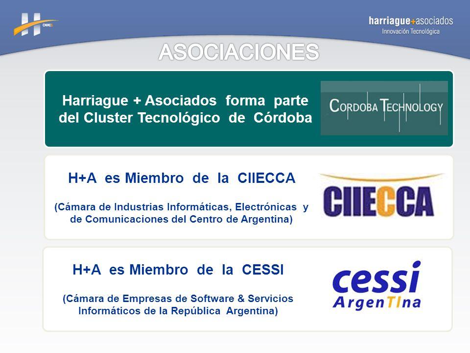 Harriague + Asociados forma parte del Cluster Tecnológico de Córdoba H+A es Miembro de la CIIECCA (Cámara de Industrias Informáticas, Electrónicas y de Comunicaciones del Centro de Argentina) H+A es Miembro de la CESSI (Cámara de Empresas de Software & Servicios Informáticos de la República Argentina)
