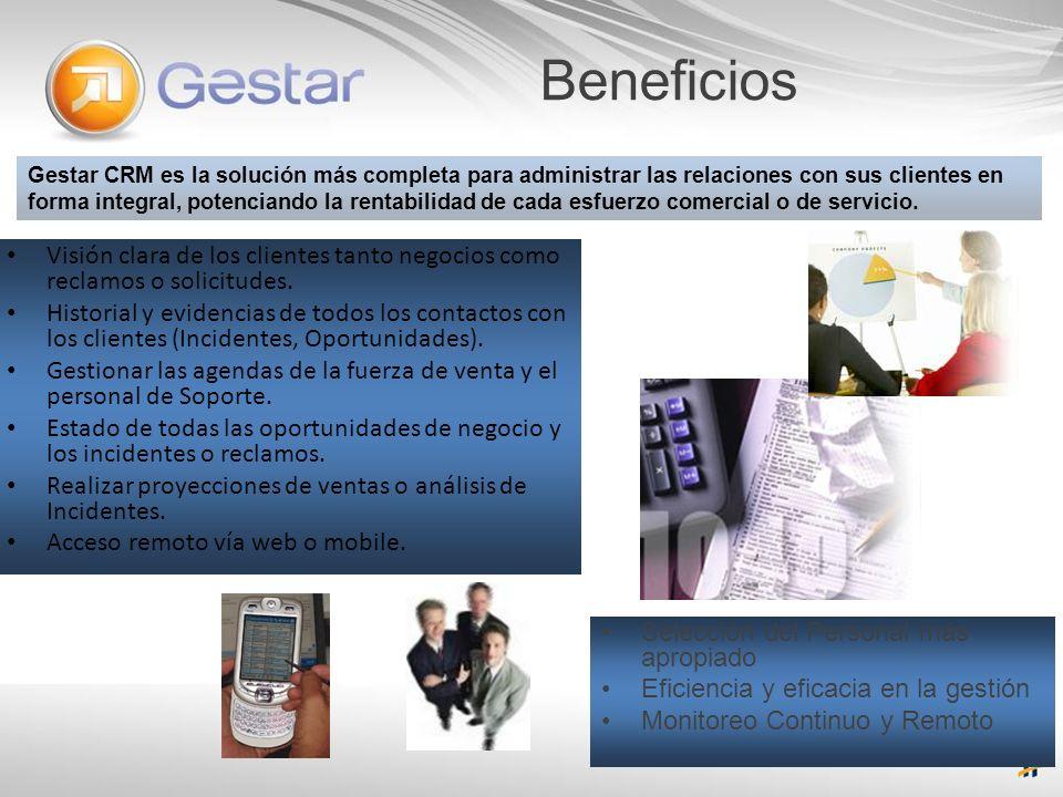 Beneficios Gestar CRM es la solución más completa para administrar las relaciones con sus clientes en forma integral, potenciando la rentabilidad de c