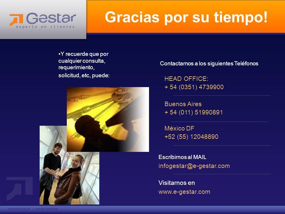 Gracias por su tiempo! Contactarnos a los siguientes Teléfonos HEAD OFFICE: + 54 (0351) 4739900 Buenos Aires + 54 (011) 51990891 México DF +52 (55) 12