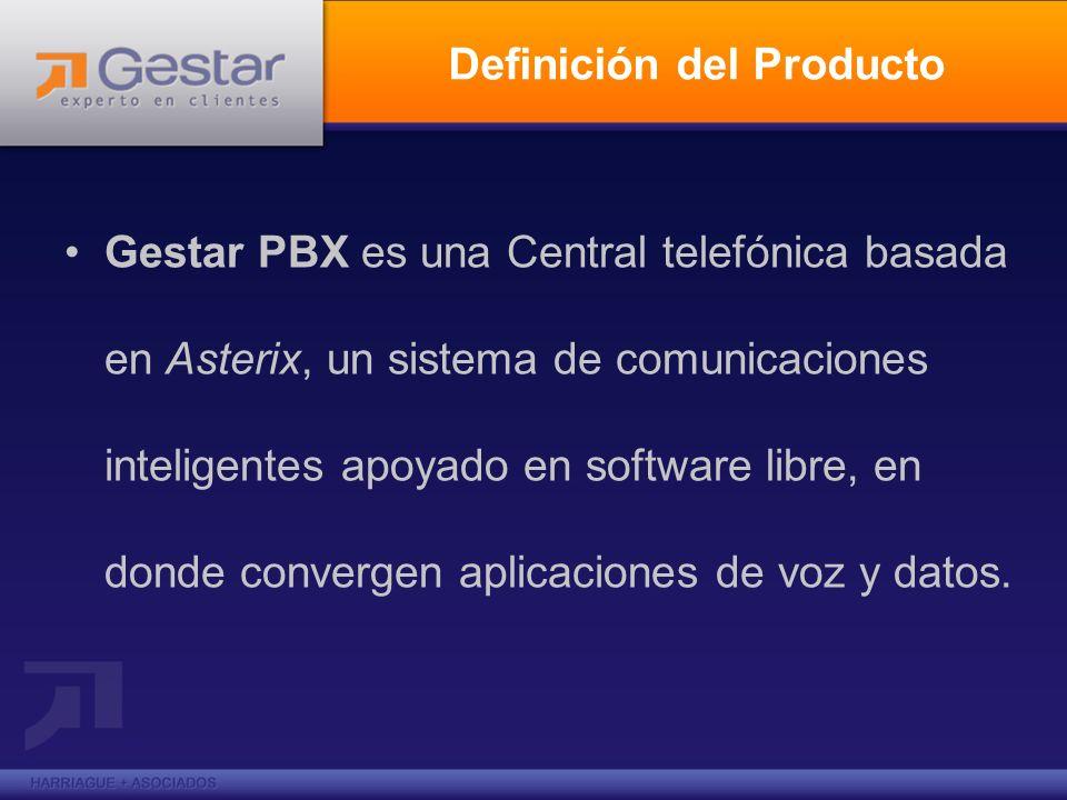 Principales Beneficios de Gestar PBX Conectar empleados desde su hogar al PBX de la oficina mediante conexiones de banda ancha Conectar Oficinas en distintas ciudades mediante Voip, Internet o una red privada IP Brindarle Voicemail a todos los empleados, integrado con la Web y su e-mail.