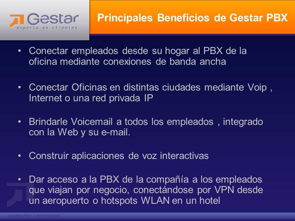Principales Beneficios de Gestar PBX Conectar empleados desde su hogar al PBX de la oficina mediante conexiones de banda ancha Conectar Oficinas en di