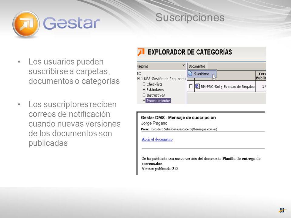 Suscripciones Los usuarios pueden suscribirse a carpetas, documentos o categorías Los suscriptores reciben correos de notificación cuando nuevas versi