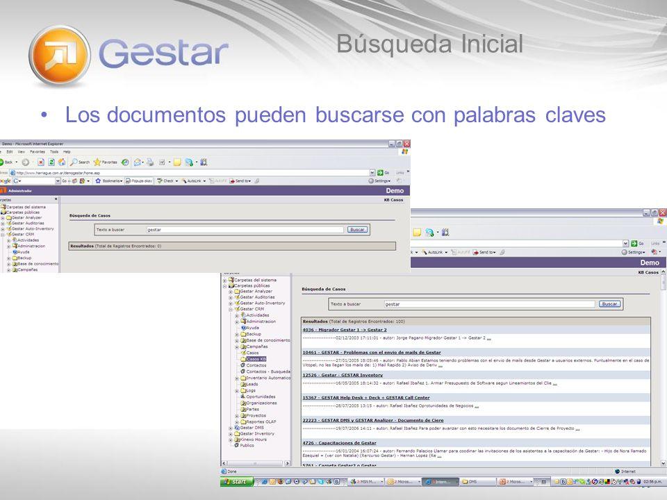Búsqueda Inicial Los documentos pueden buscarse con palabras claves