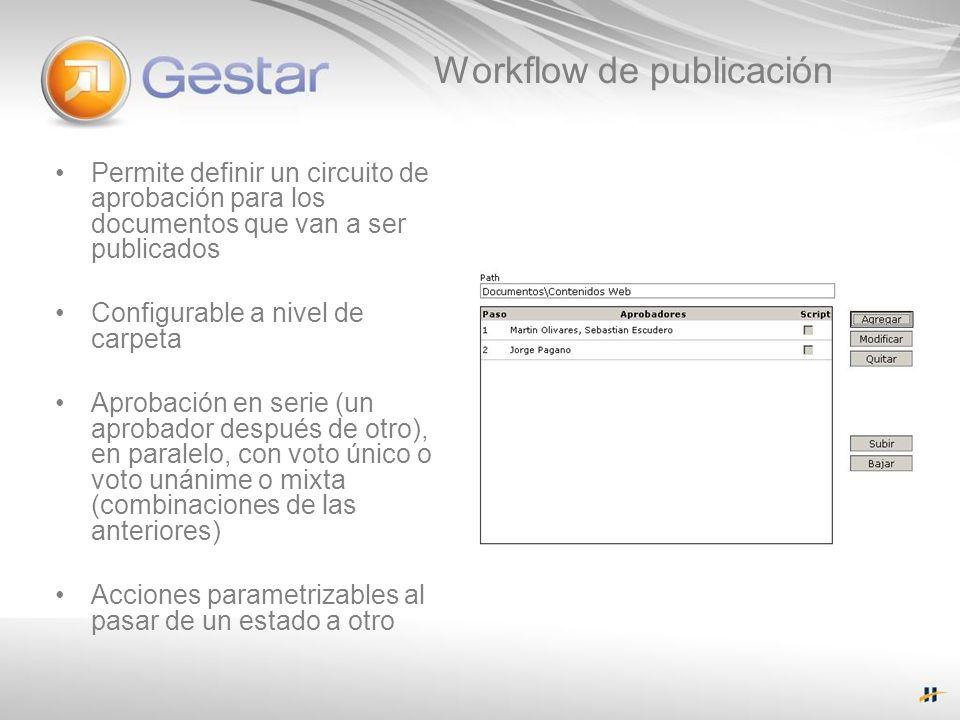Workflow de publicación Permite definir un circuito de aprobación para los documentos que van a ser publicados Configurable a nivel de carpeta Aprobac