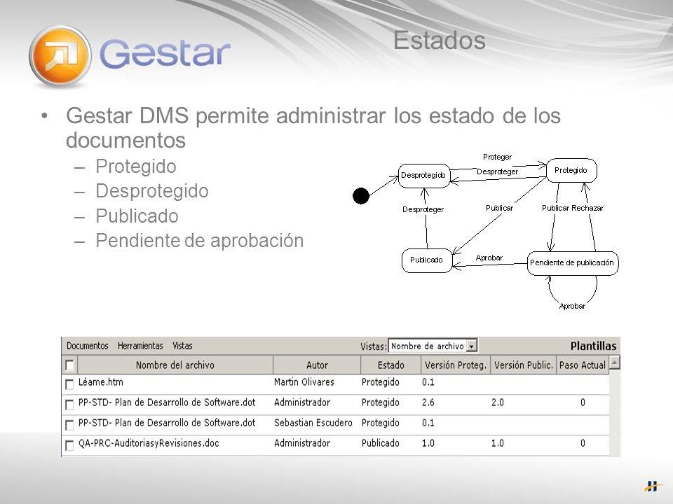 Estados Gestar DMS permite administrar los estado de los documentos –Protegido –Desprotegido –Publicado –Pendiente de aprobación