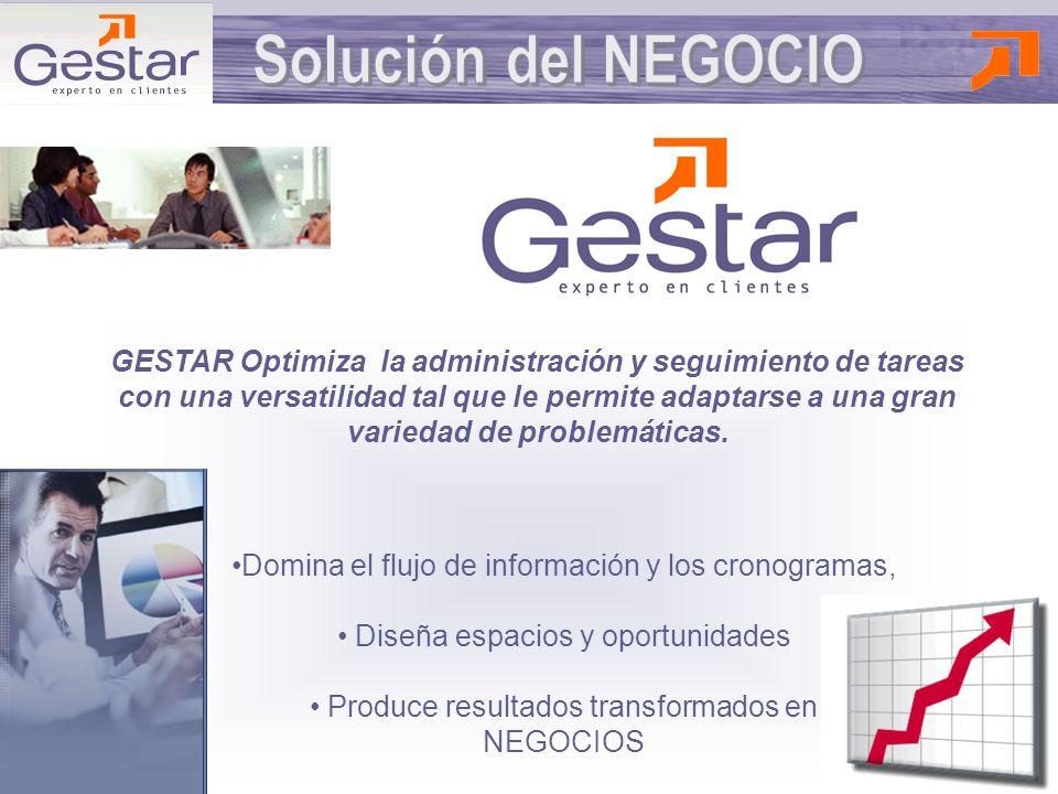 GESTAR Optimiza la administración y seguimiento de tareas con una versatilidad tal que le permite adaptarse a una gran variedad de problemáticas.