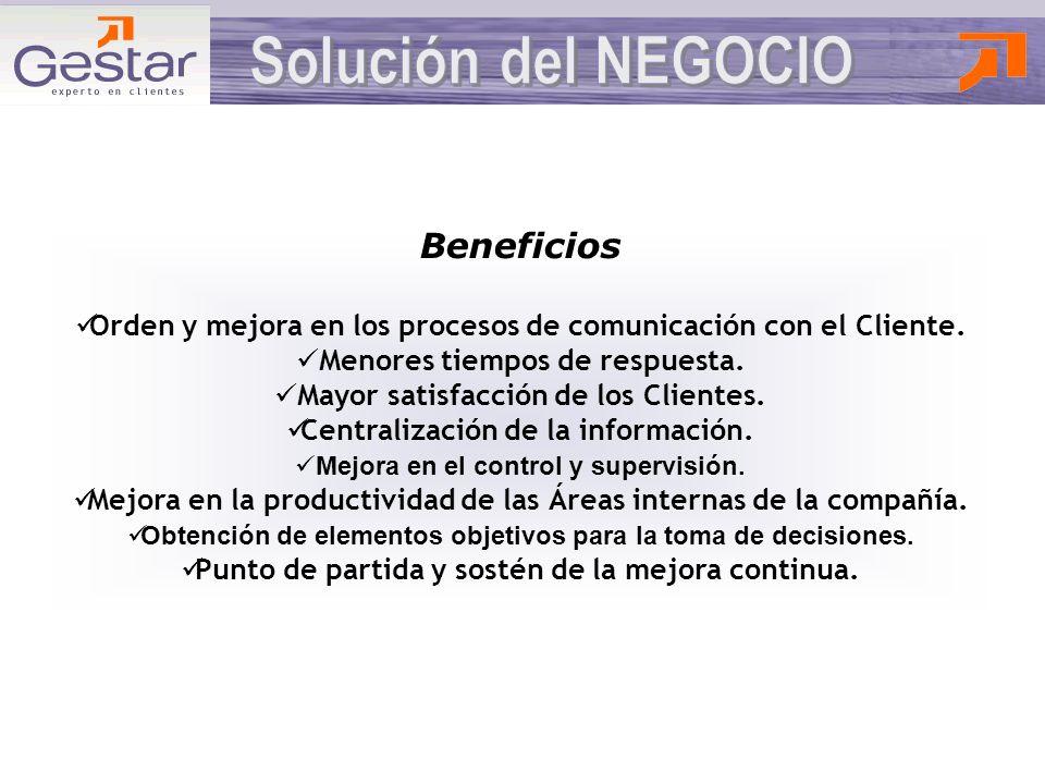 Beneficios Orden y mejora en los procesos de comunicación con el Cliente.
