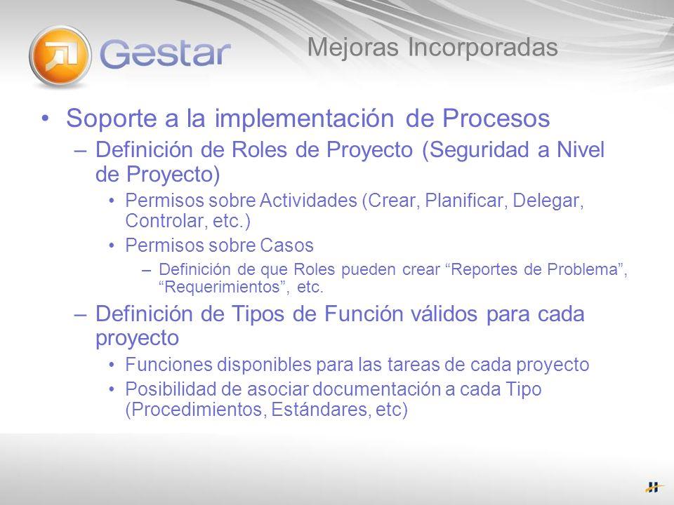 Mejoras Incorporadas Soporte a la implementación de Procesos –Definición de Roles de Proyecto (Seguridad a Nivel de Proyecto) Permisos sobre Actividad