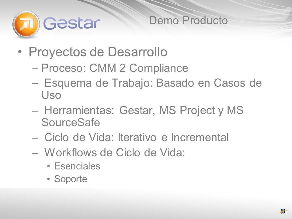 Demo Producto Proyectos de Desarrollo –Proceso: CMM 2 Compliance – Esquema de Trabajo: Basado en Casos de Uso – Herramientas: Gestar, MS Project y MS