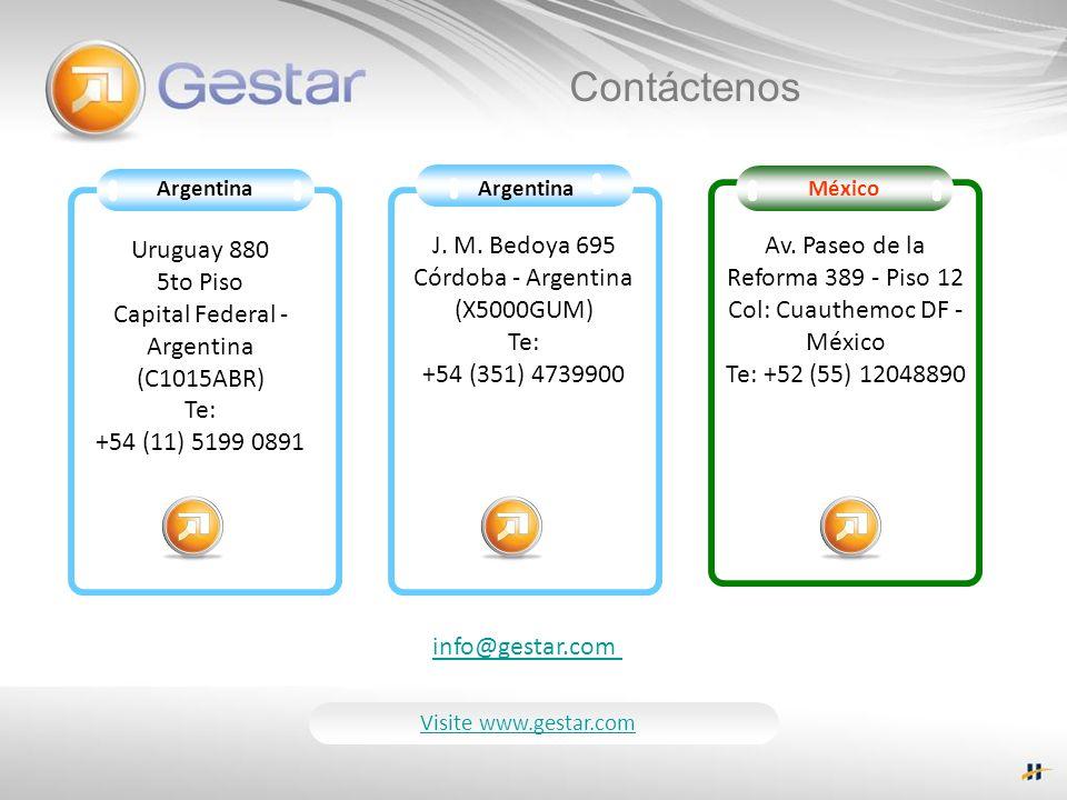 Argentina Uruguay 880 5to Piso Capital Federal - Argentina (C1015ABR) Te: +54 (11) 5199 0891 J. M. Bedoya 695 Córdoba - Argentina (X5000GUM) Te: +54 (