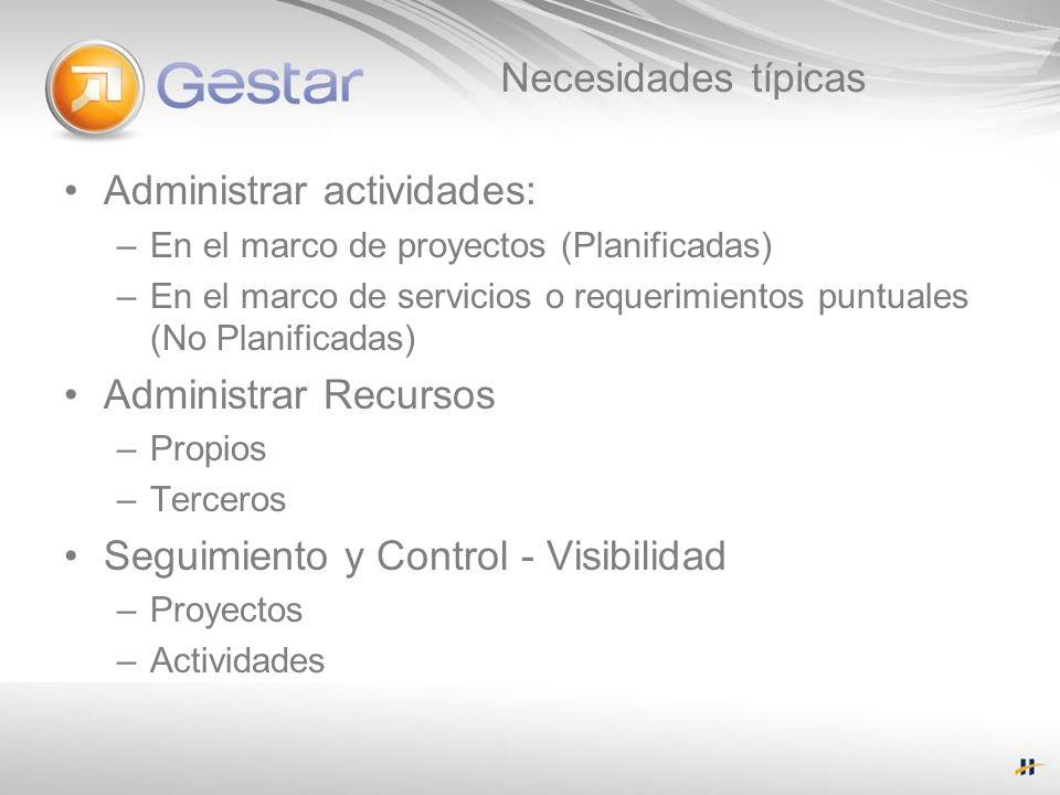 Necesidades típicas Administrar actividades: –En el marco de proyectos (Planificadas) –En el marco de servicios o requerimientos puntuales (No Planifi