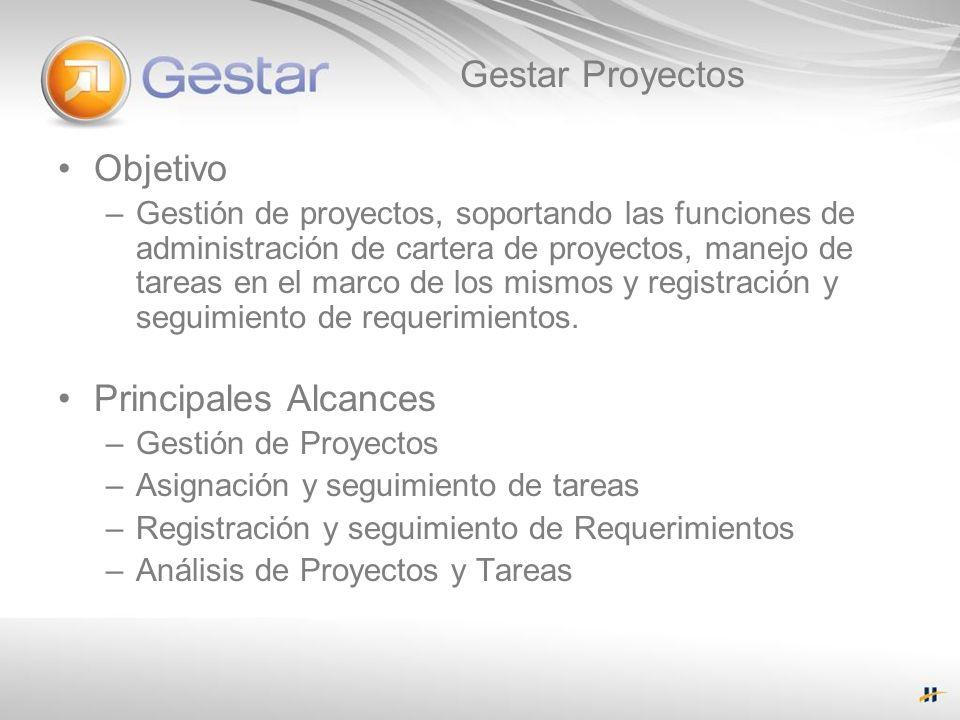 Gestar Proyectos Objetivo –Gestión de proyectos, soportando las funciones de administración de cartera de proyectos, manejo de tareas en el marco de l