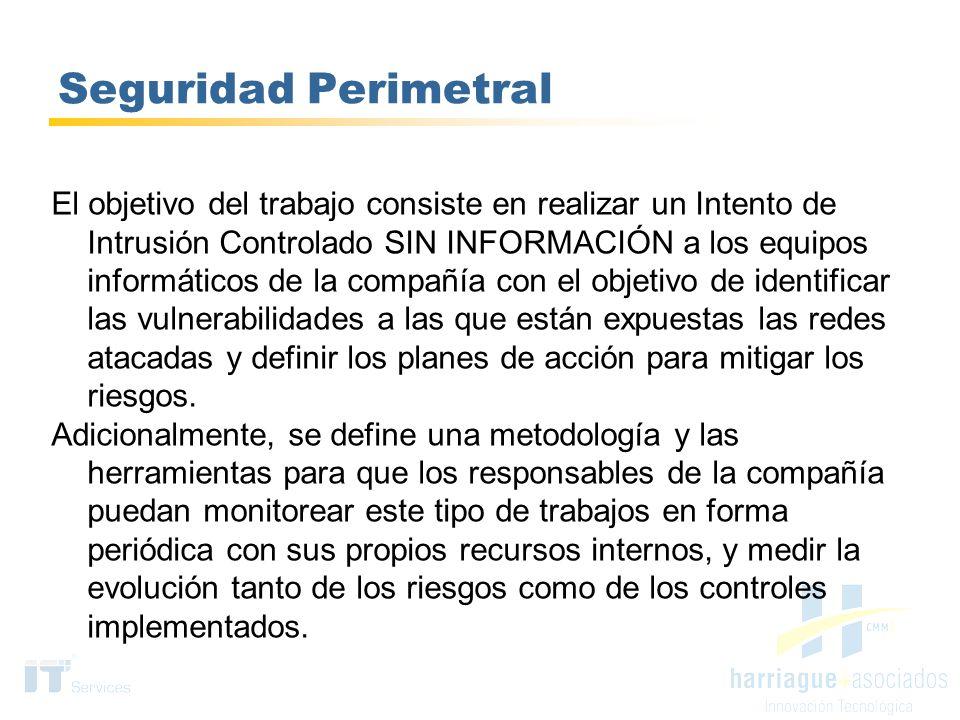 Seguridad Perimetral El objetivo del trabajo consiste en realizar un Intento de Intrusión Controlado SIN INFORMACIÓN a los equipos informáticos de la