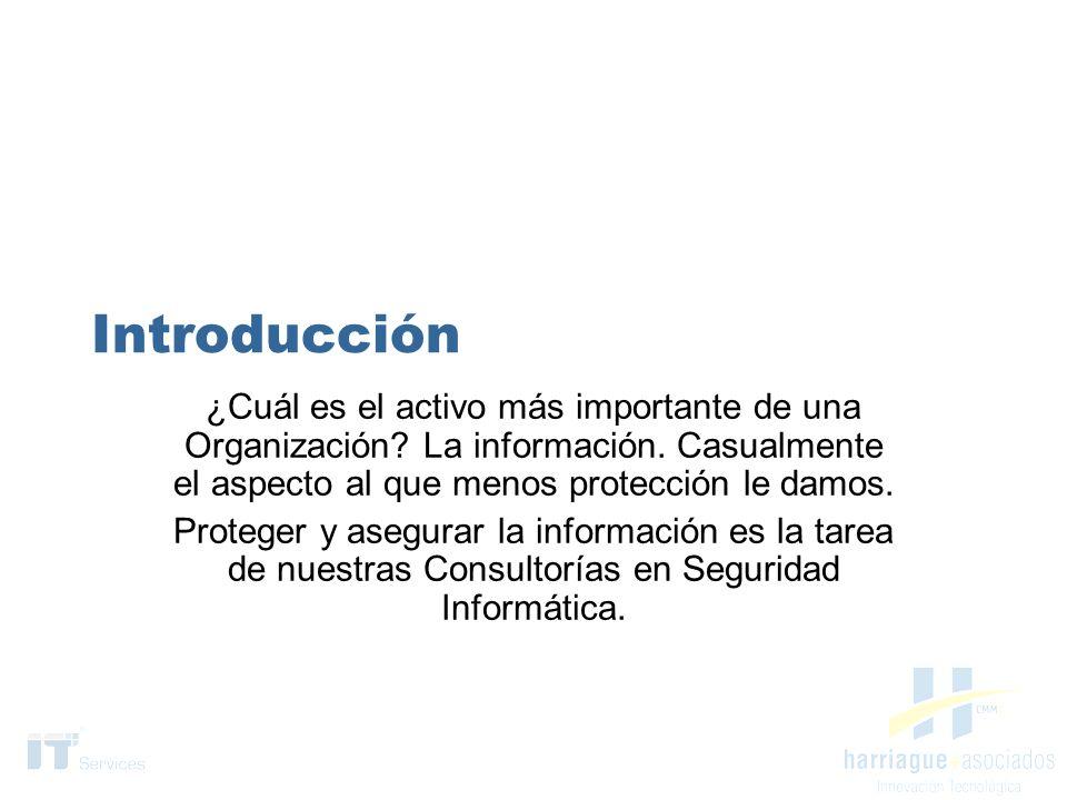 Servicios de Consultoría Diagnóstico y Relevamiento en Seguridad Informática Reingeniería de accesos Política de Seguridad de la Información Modelo de Gestión Documental Disaster Recovery Plan – Business Continuity Programa de concientización Seguridad Perimetral Diagnótico y Plan de implementación de ISO17799
