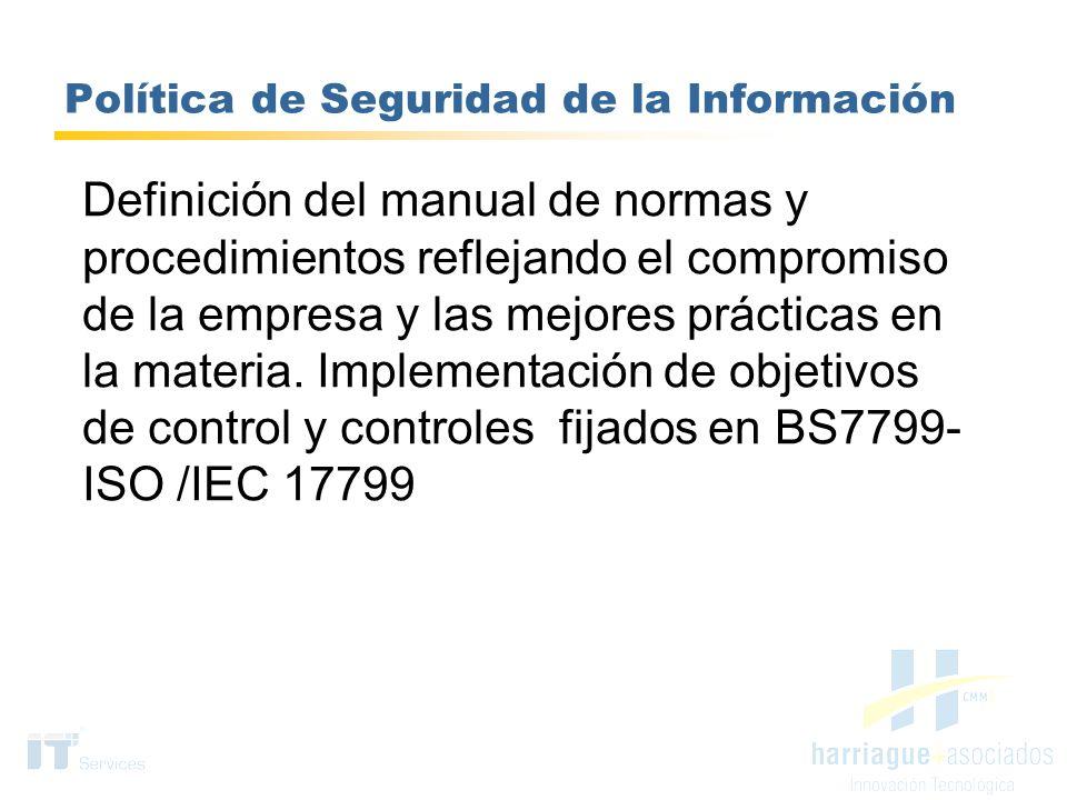 Política de Seguridad de la Información Definición del manual de normas y procedimientos reflejando el compromiso de la empresa y las mejores práctica