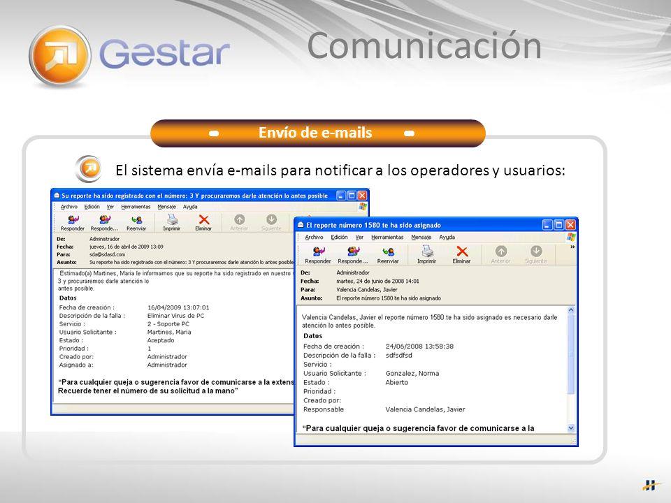 Comunicación Envío de e-mails El sistema envía e-mails para notificar a los operadores y usuarios: