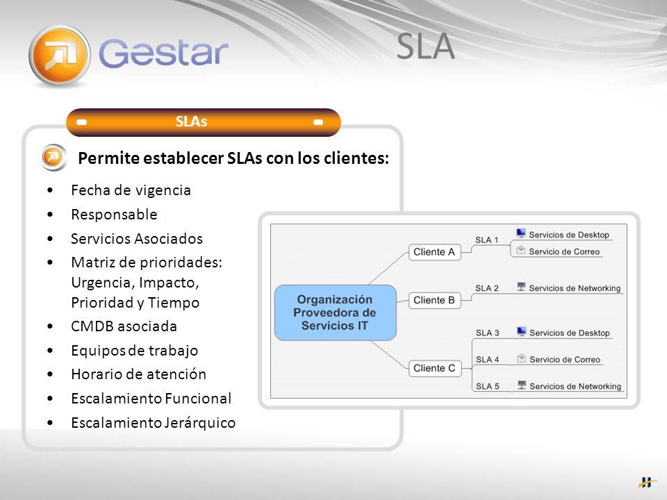 SLA Permite establecer SLAs con los clientes: Fecha de vigencia Responsable Servicios Asociados Matriz de prioridades: Urgencia, Impacto, Prioridad y