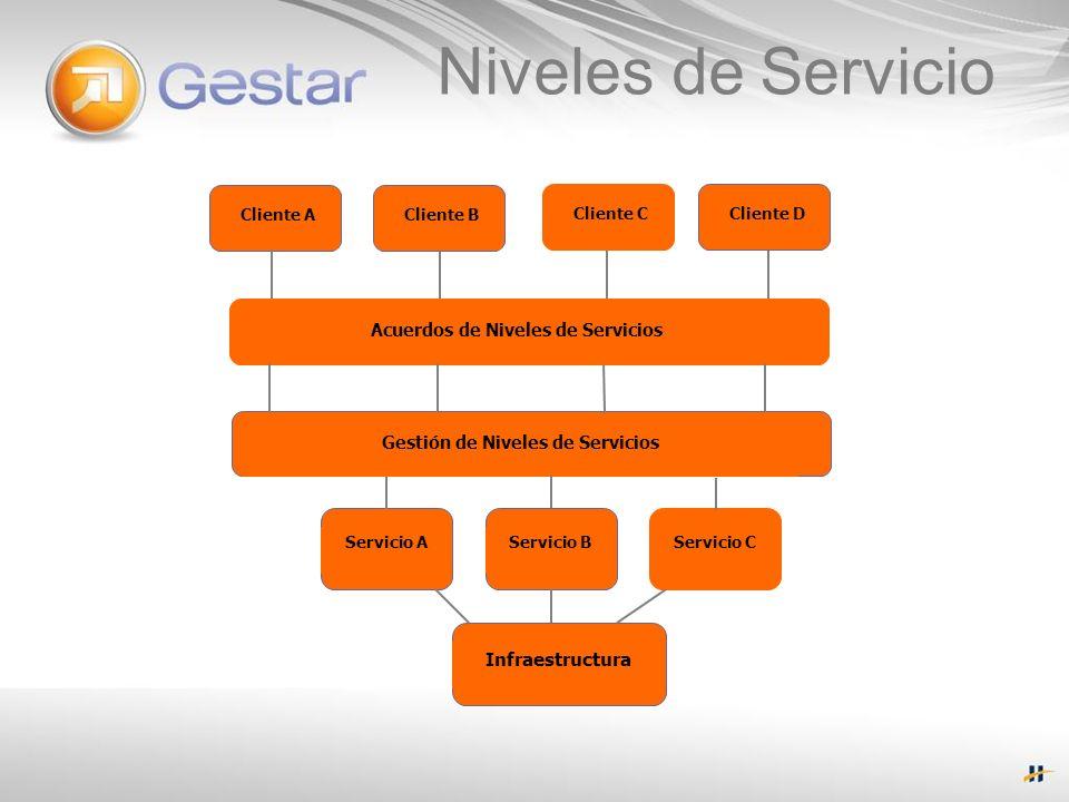Cliente A Acuerdos de Niveles de Servicios Gestión de Niveles de Servicios Servicio AServicio BServicio C Infraestructura Cliente B Cliente CCliente D