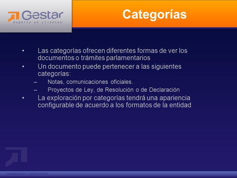 Categorías Las categorías ofrecen diferentes formas de ver los documentos o trámites parlamentarios Un documento puede pertenecer a las siguientes categorías: –Notas, comunicaciones oficiales.