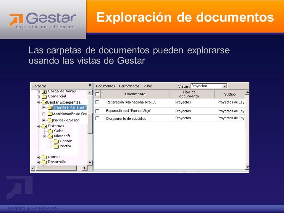Exploración de documentos Las carpetas de documentos pueden explorarse usando las vistas de Gestar