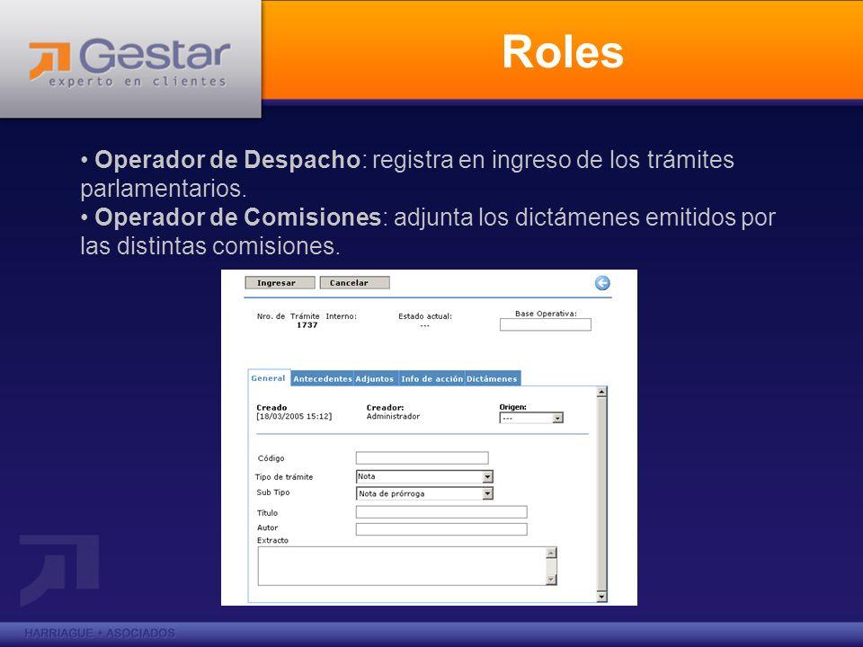 Roles Operador de Despacho: registra en ingreso de los trámites parlamentarios.