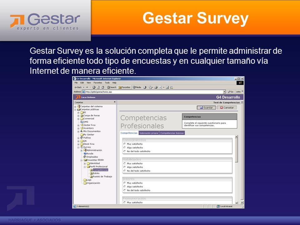 Gestar Survey Gestar Survey es la solución completa que le permite administrar de forma eficiente todo tipo de encuestas y en cualquier tamaño vía Internet de manera eficiente.
