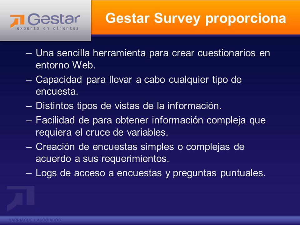 –Una sencilla herramienta para crear cuestionarios en entorno Web. –Capacidad para llevar a cabo cualquier tipo de encuesta. –Distintos tipos de vista