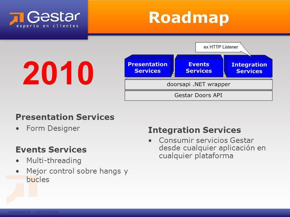 Roadmap Presentation Services Form Designer Events Services Multi-threading Mejor control sobre hangs y bucles 2010 Integration Services Consumir servicios Gestar desde cualquier aplicación en cualquier plataforma