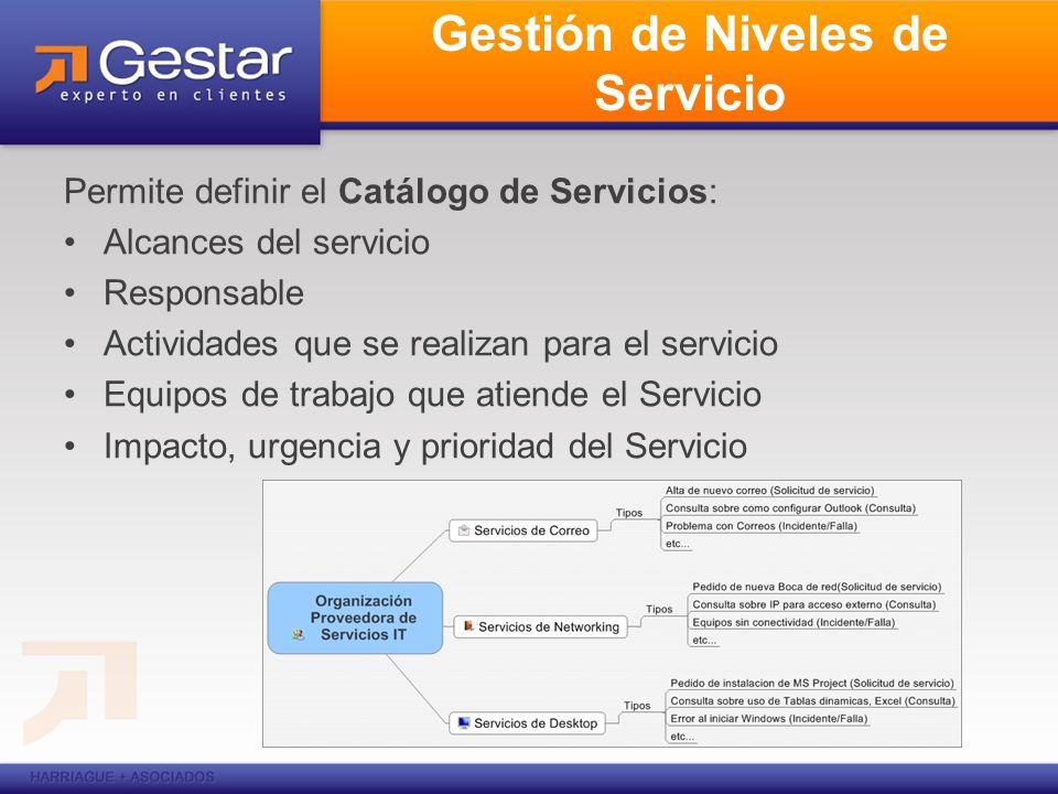 Gestión de Niveles de Servicio Permite definir el Catálogo de Servicios: Alcances del servicio Responsable Actividades que se realizan para el servici