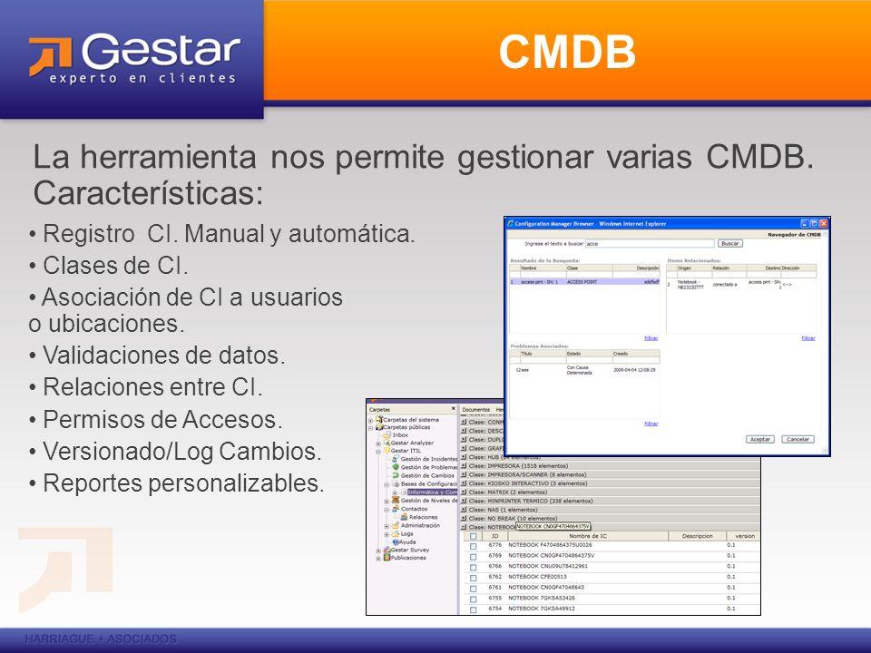 CMDB La herramienta nos permite gestionar varias CMDB. Características: Registro CI. Manual y automática. Clases de CI. Asociación de CI a usuarios o