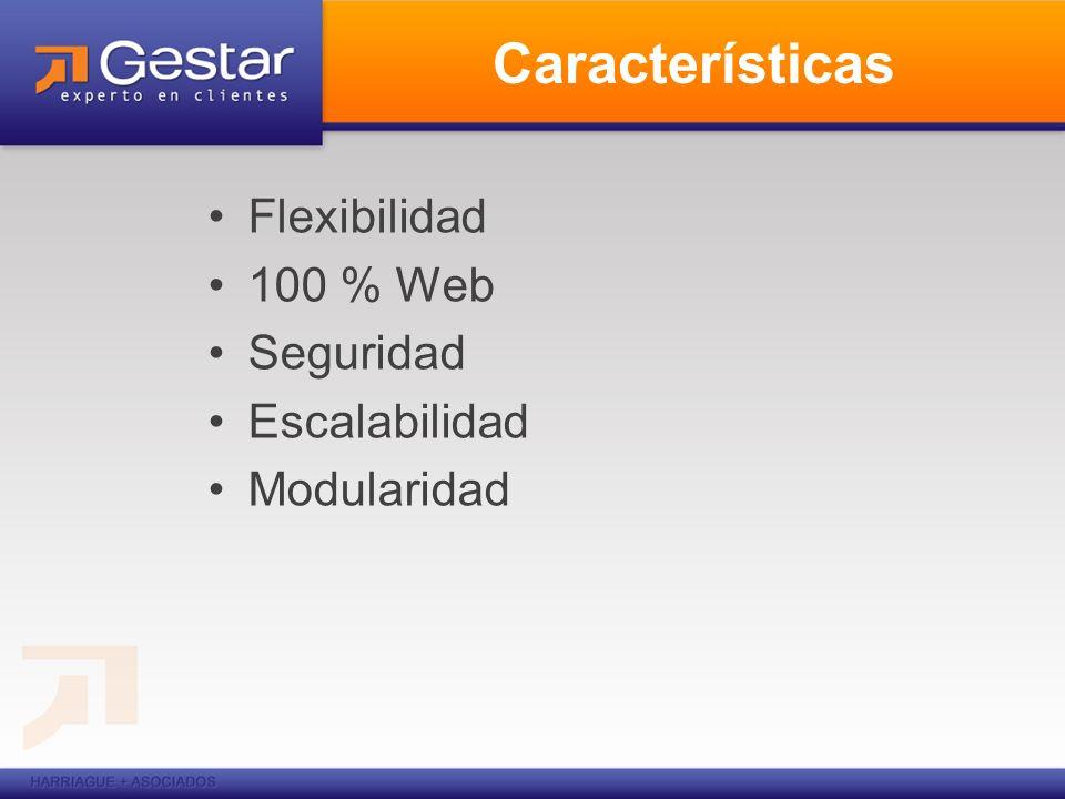Características Flexibilidad 100 % Web Seguridad Escalabilidad Modularidad