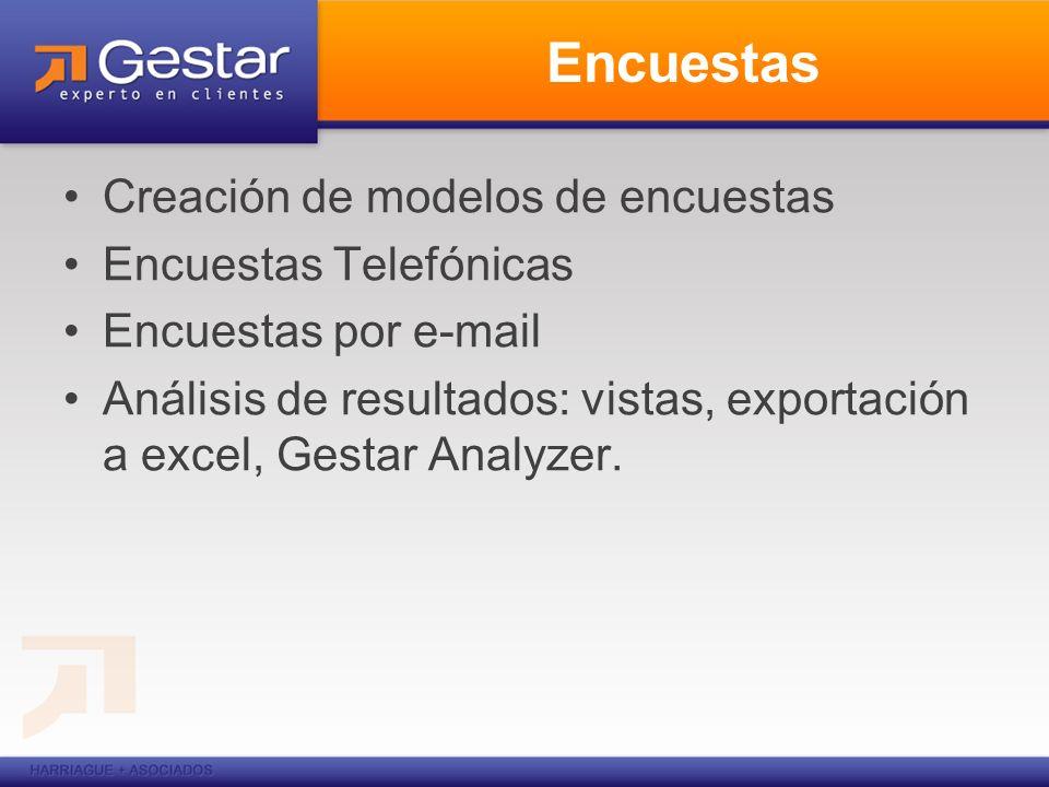 Encuestas Creación de modelos de encuestas Encuestas Telefónicas Encuestas por e-mail Análisis de resultados: vistas, exportación a excel, Gestar Anal