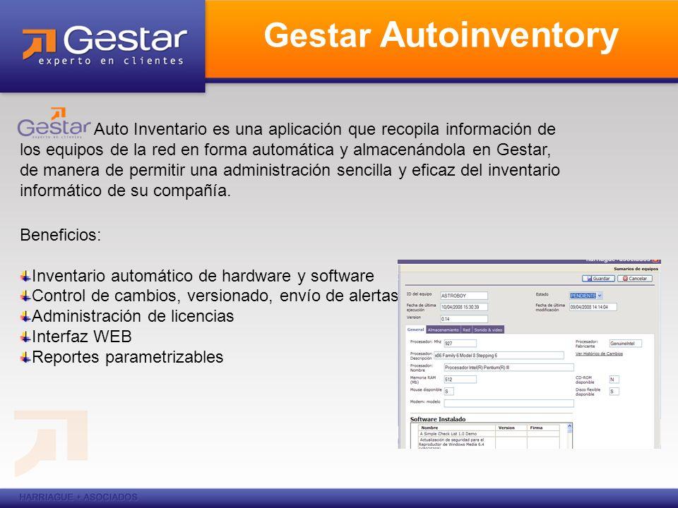 Gestar Autoinventory Auto Inventario es una aplicación que recopila información de los equipos de la red en forma automática y almacenándola en Gestar