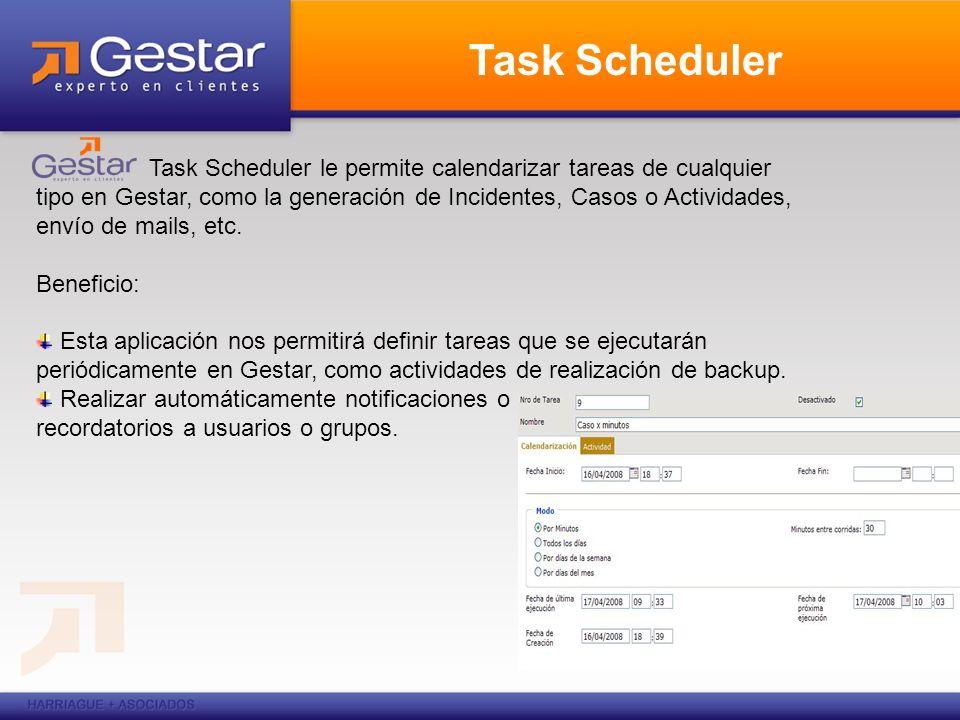 Task Scheduler Task Scheduler le permite calendarizar tareas de cualquier tipo en Gestar, como la generación de Incidentes, Casos o Actividades, envío