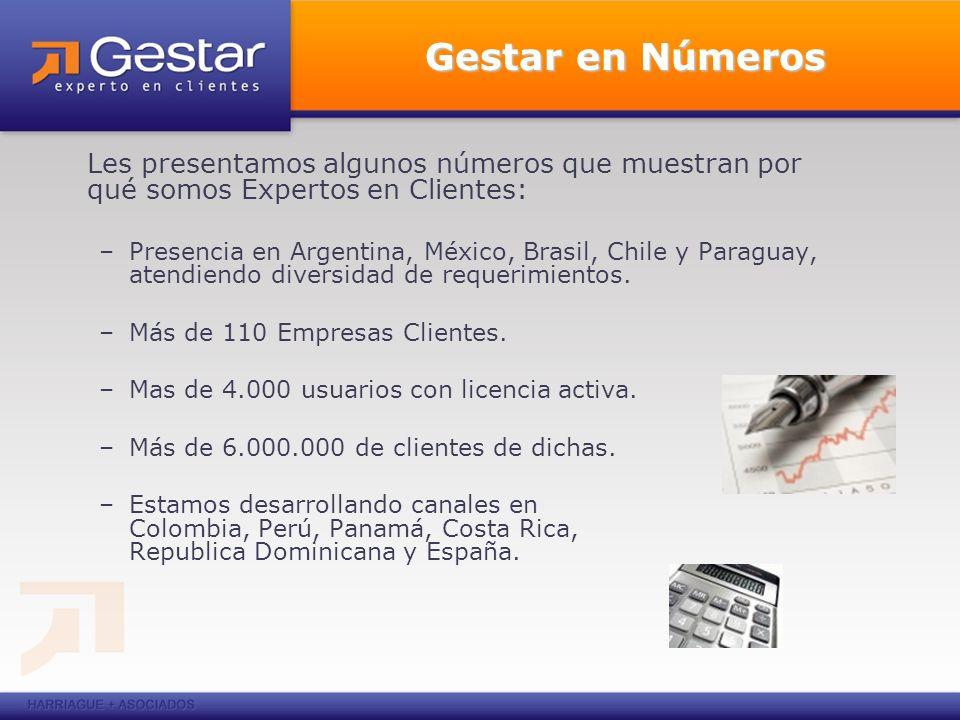 Gestar en Números Les presentamos algunos números que muestran por qué somos Expertos en Clientes: –Presencia en Argentina, México, Brasil, Chile y Paraguay, atendiendo diversidad de requerimientos.