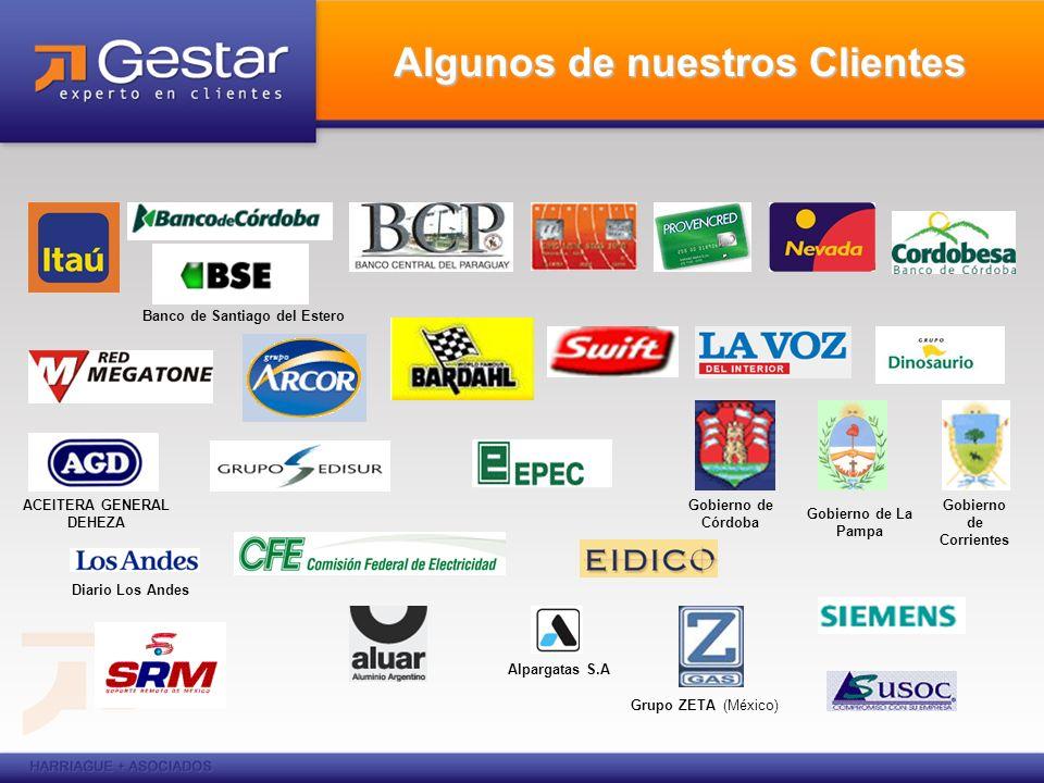 Algunos de nuestros Clientes ACEITERA GENERAL DEHEZA Gobierno de Córdoba Gobierno de Corrientes Gobierno de La Pampa Alpargatas S.A Diario Los Andes G