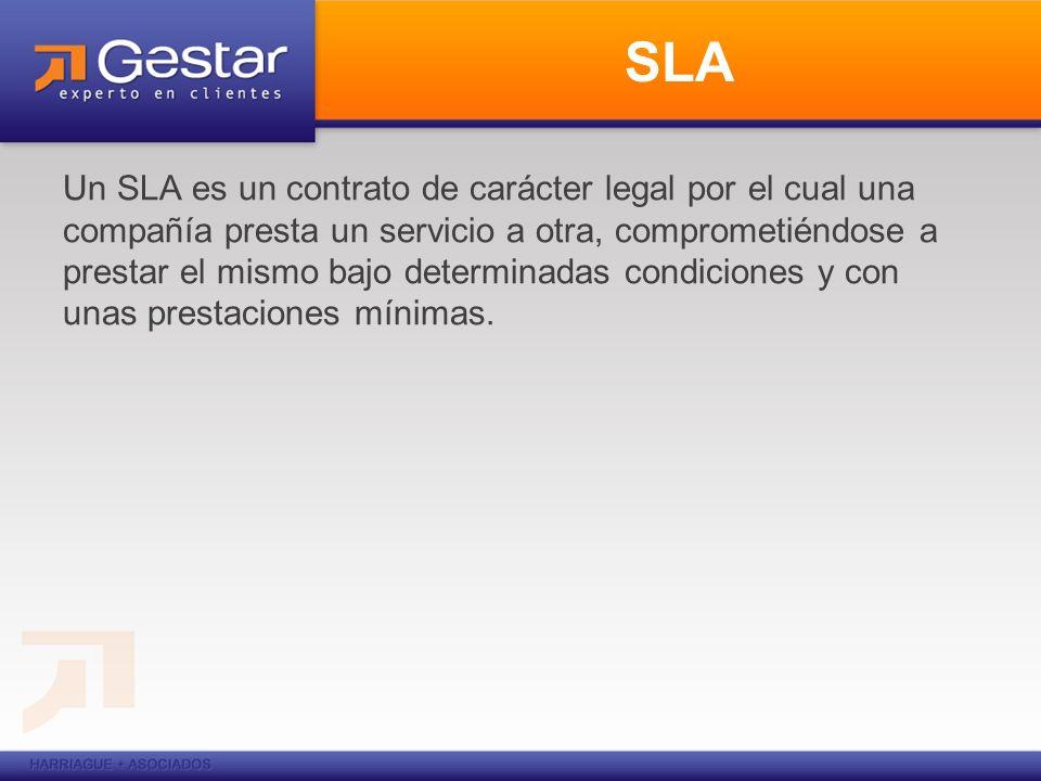 SLA Un SLA es un contrato de carácter legal por el cual una compañía presta un servicio a otra, comprometiéndose a prestar el mismo bajo determinadas