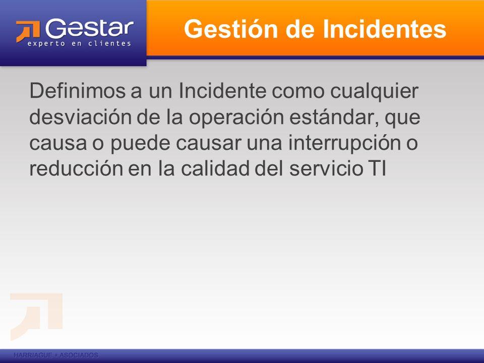 Gestión de Incidentes Definimos a un Incidente como cualquier desviación de la operación estándar, que causa o puede causar una interrupción o reducci