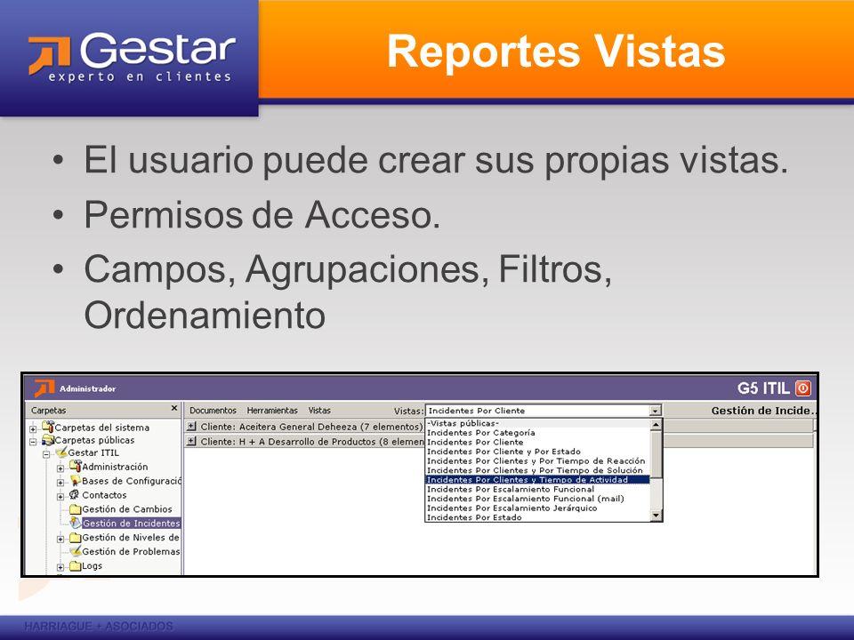 Reportes Vistas El usuario puede crear sus propias vistas. Permisos de Acceso. Campos, Agrupaciones, Filtros, Ordenamiento