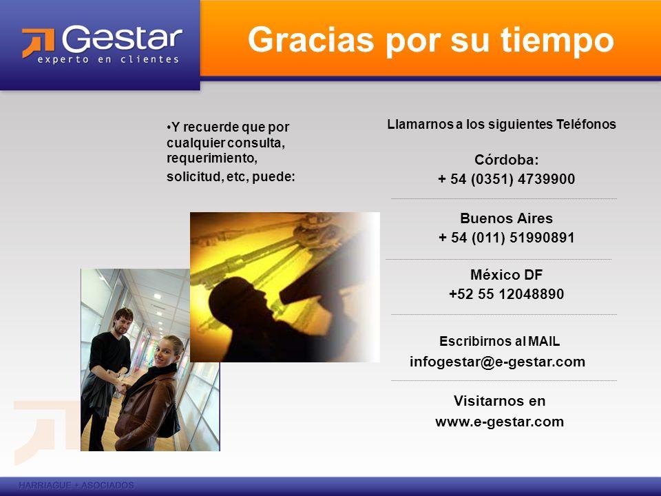 Llamarnos a los siguientes Teléfonos Córdoba: + 54 (0351) 4739900 Buenos Aires + 54 (011) 51990891 México DF +52 55 12048890 Escribirnos al MAIL infog