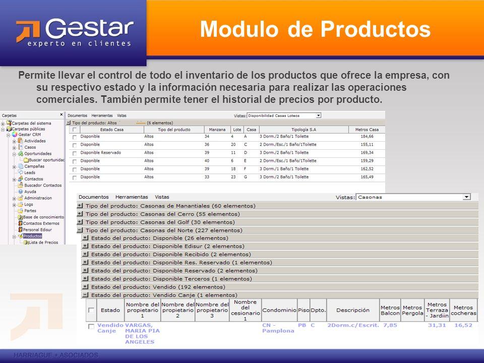 Modulo de Productos Permite llevar el control de todo el inventario de los productos que ofrece la empresa, con su respectivo estado y la información