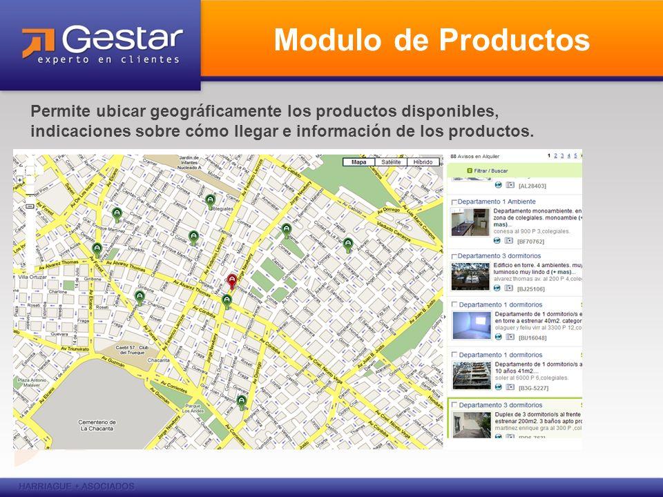 Modulo de Productos Permite ubicar geográficamente los productos disponibles, indicaciones sobre cómo llegar e información de los productos.