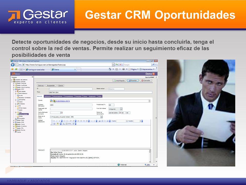 Gestar CRM Oportunidades Detecte oportunidades de negocios, desde su inicio hasta concluirla, tenga el control sobre la red de ventas. Permite realiza