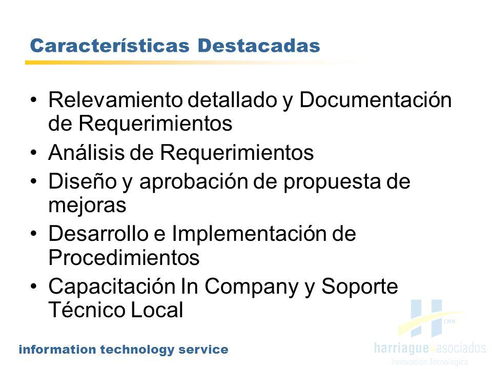 information technology service Características Destacadas Relevamiento detallado y Documentación de Requerimientos Análisis de Requerimientos Diseño y