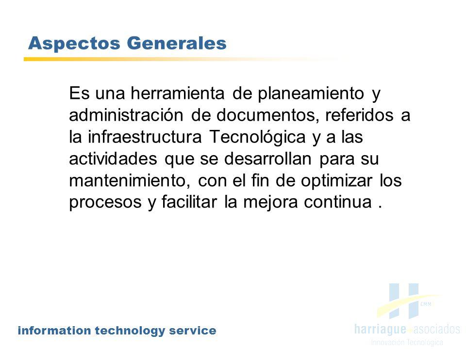 information technology service Aspectos Generales Es una herramienta de planeamiento y administración de documentos, referidos a la infraestructura Te