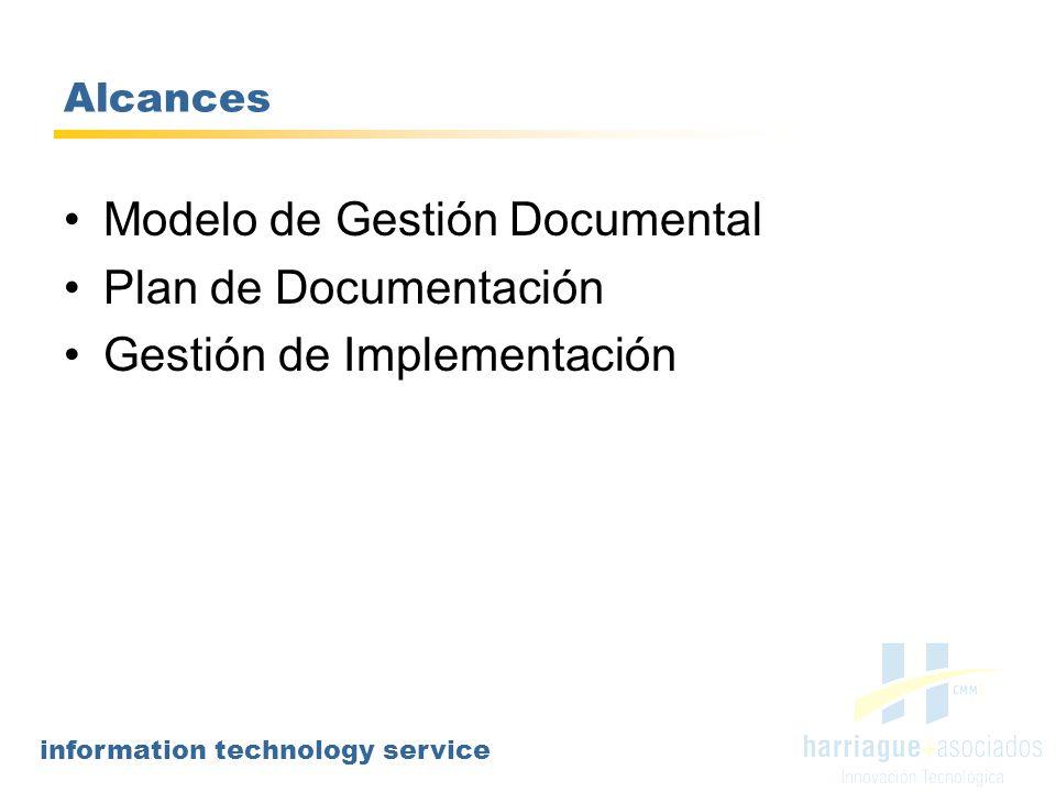 information technology service Modelo de Gestión Documental El Modelo es la arquitectura del Proceso y define: Alcances: define, por ejemplo, las áreas que utilizarán del modelo, tipo de información a documentar, límites, etc.