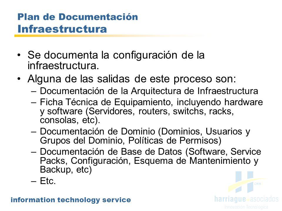information technology service Plan de Documentación Administración de Infraestructura Se documentarán las principales actividades realizadas por el personal técnico del Área de IT, haciendo foco en aquellas consideradas críticas o prioritarias.