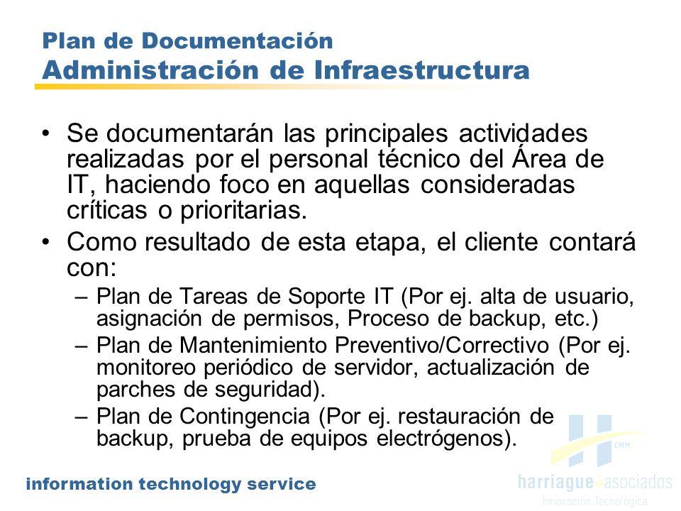 information technology service Plan de Documentación Administración de Infraestructura Se documentarán las principales actividades realizadas por el p