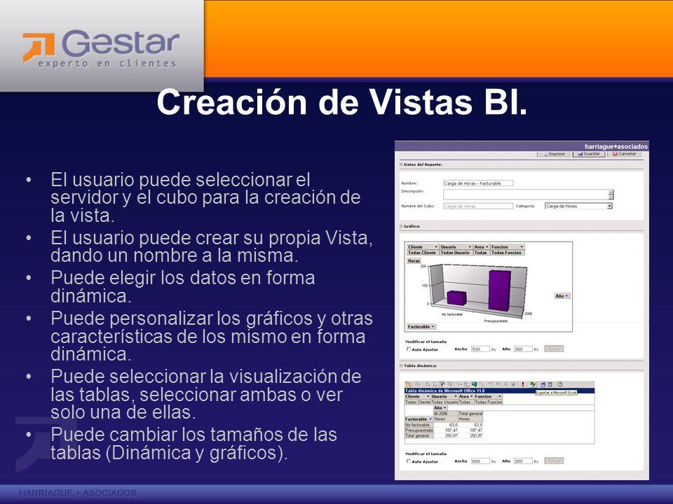Creación de Vistas BI. El usuario puede seleccionar el servidor y el cubo para la creación de la vista. El usuario puede crear su propia Vista, dando