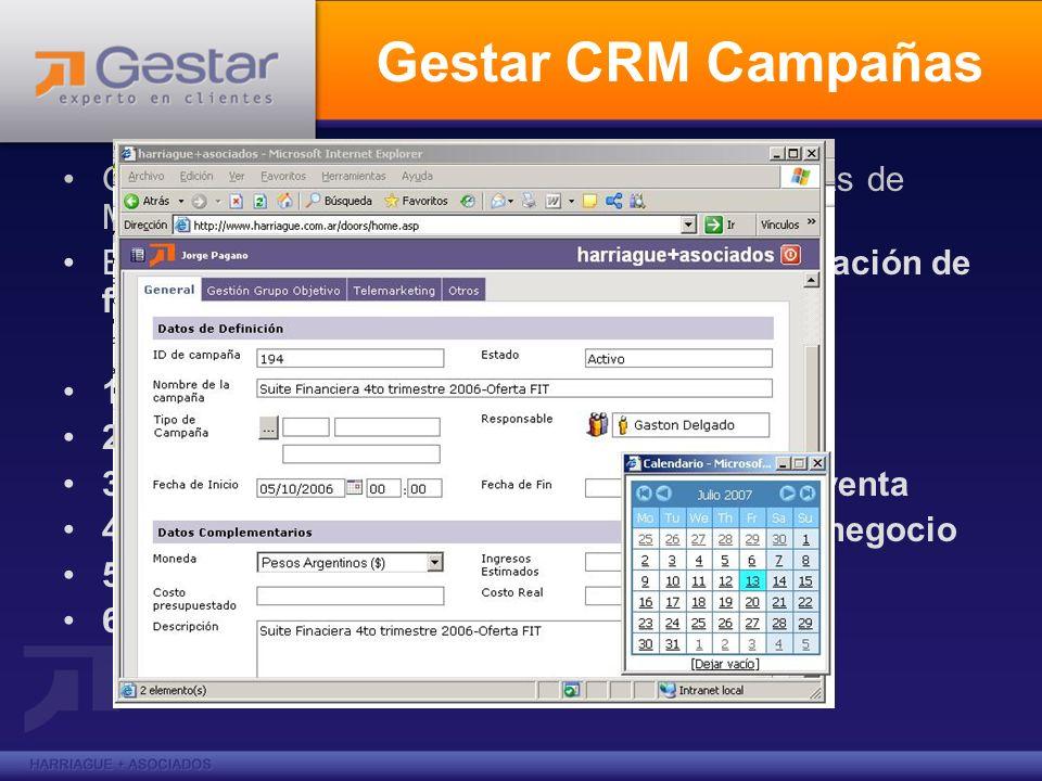 Gestar CRM Campañas Gestar CRM Campañas: ejecución de campañas de MKT En la solución GESTAR CRM para automatización de fuerza de ventas podremos: 1. V